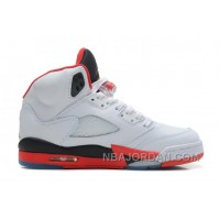 Air Jordans 5 Retro White/Fire Red-Black For Sale Online