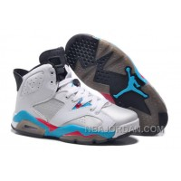 New Air Jordan Retro 6 Girls Size White Blue Red Online Cheap To Buy