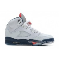 Air Jordan 5 White/Varsity Red-Obsidian For Sale Discount