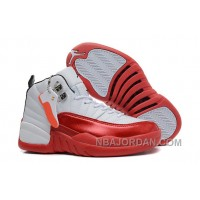 Womens Air Jordan 12 GS White And Red For Girls On Sale Authentic