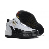 """Womens Air Jordan 12 GS """"Taxi"""" Black And White Girls Size For Sale Top Deals"""