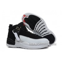 """Womens Air Jordan 12 Girls Size """"Playoffs"""" Black And White For Sale Christmas Deals"""