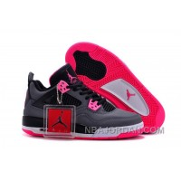 Women Air Jordan 4 Grey Pink Black GS Size Basketball Shoes Cheap Sale Top