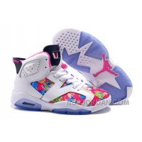 Women Jordan Shoes 6 GS Floral White And Pink With Flower For Sale