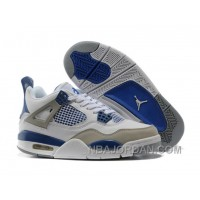 Nike Air Jordan 4 Womens Basketball Shoes White/Blue/Grey Discount