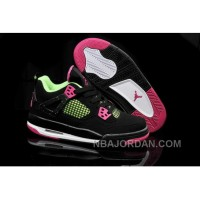 Get Nike Air Jordan Iv 4 Retro Womens Shoes Black Green Pink Special Discount