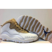 Men's Size Basketball Shoes Air Jordan 10 White And Gold