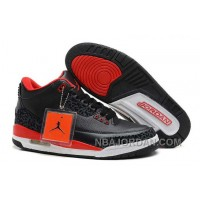 Nike Air Jordan 3 Mens Black Red Shoes