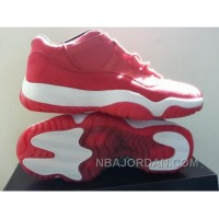 Hot Nike Air Jordan Xi 11 Retro Mens Shoes Low Red All Hot White