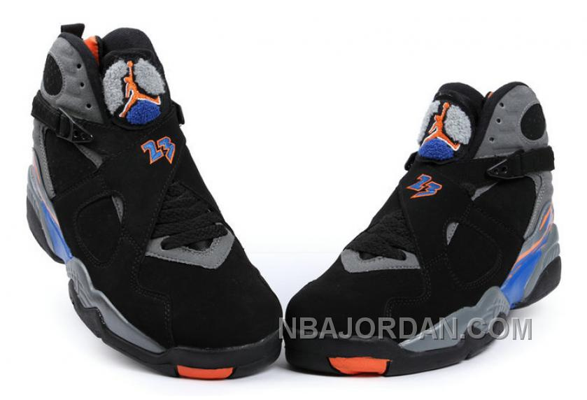 New Air Jordan 8 Black/Bright Citrus-Cool Grey-Deep Royal Blue Lastest